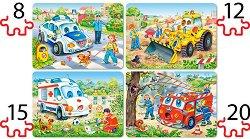 Забавни превозни средства - Четири пъзела - пъзел