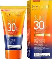 """Eveline Sun Antyleuskine Complex Hyaluronic Acid Face Creаm - Слънцезащитен крем за лице с хиалуронова киселина от серията """"Sun Care"""" - спирала"""