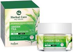 """Farmona Herbal Care Normalising Cream - Green Tea - Матиращ крем за лице със зелен чай за мазна и смесена кожа от серията """"Herbal Care"""" - продукт"""