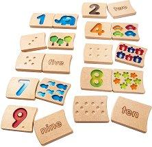 Плочки с цифри - Детски образователен комплект от дърво - творчески комплект