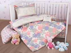 Спален комплект за бебешко креватче - Paws - 5 части с възглавница -