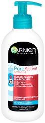 Garnier Pure Active Intensive Ultracleansing Charcoal Gel - Измиващ гел за лице против черни точки - гел