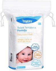 Памучни тампони за почистване на бебешка кожа - Опаковка от 60 броя -