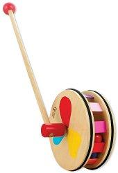 Цветно колело - Детска дървена играчка за бутане - играчка