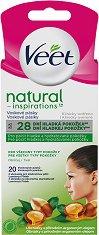 Veet Natural Inspirations Face Wax Strips All Skin Types - Епилиращи ленти за лице за всеки тип кожа в опаковка от 20 броя - продукт