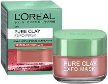 "L'Oreal Pure Clay Exfo Mask - Ексфолираща и изглаждаща маска за лице с 3 вида глина и червени водорасли от серията ""Pure Clay"" - четка"