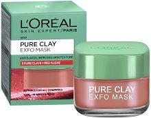 """L'Oreal Pure Clay Exfo Mask - Ексфолираща и изглаждаща маска за лице с 3 вида глина и червени водорасли от серията """"Pure Clay"""" - продукт"""