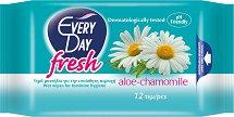 EveryDay Fresh Wipes Aloe and Chamomile - Интимни мокри кърпички с лайка и алое в опаковка от 12 броя - масло