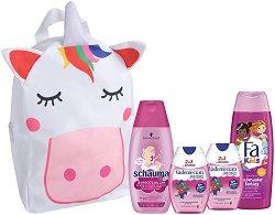 Подаръчен комплект с чанта за момичета - Fa Kids & Schauma & Vademecum - Шампоан, душ гел и пасти за зъби - лак