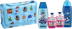 Подаръчен комплект с чанта за момчета - Fa Kids & Schauma & Vademecum - Шампоан, душ гел и пасти за зъби - лак