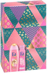 Подаръчен комплект - Fa Magic Oil & Pink Passion - Душ гел и дезодорант - продукт
