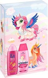 Подаръчен комплект за момичета - Fa Kids & Schauma - Шампоан и душ гел за деца - гъба за баня