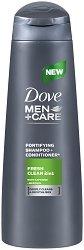 """Dove Men+Care Fresh Clean 2 in 1 Fortifying Shampoo & Conditioner - Шампоан и балсам 2 в 1 за мъже с ментол от серията """"Men+Care"""" - душ гел"""