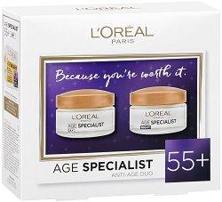 Подаръчен комплект - L'Oreal Age Specialist 55+ - Дневен и нощен крем за лице против бръчки - крем