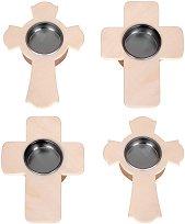 Поставки за чаени свещички - Кръстчета - Комплект от 4 броя с размери 9.6 x 13.3 cm