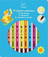 Флумастери - 10 цвята - Комбинирани с тънък и дебел писец