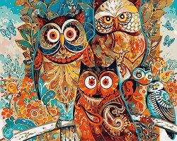 Рисуване по номера - Бухали - Комплект за картина с размери 50 x 40 cm