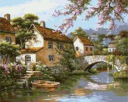 Рисуване по номера - Къща край реката - Комплект за картина с размери 50 x 40 cm