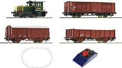 Товарен влак с дизелов локомотив D214 - FS - Дигитален стартов комплект с релси - макет