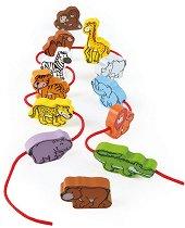 Животните в джунглата - Дървени фигури за нанизване - играчка
