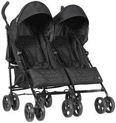 Лятна бебешка количка за близнаци - Bobby: Black -