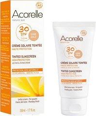 Acorelle Tinted Sunscreen High Protection - SPF 30 - Био тониращ слънцезащитен крем за лице и тяло - продукт