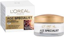 """L'Oreal Paris Age Specialist 65+ Day Cream - SPF 20 - Възстановяващ дневен крем против бръчки от серията """"Age Specialist"""" - детски аксесоар"""