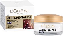 """L'Oreal Paris Age Specialist Night Cream 65+ - Възстановяващ нощен крем против стареене от серията """"Age Specialist"""" - боя"""