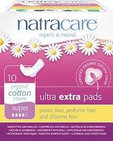 Natracare Ultra Extra Pads Super - Дамски превръзки с крилца в опаковка от 10 броя - четка