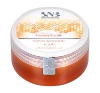 SNB Honey & Milk Hands and Body Scrub with Himalayan Salt - продукт