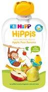 HIPP HiPPiS - Био забавна плодова закуска с ябълки, круши и банан - Опаковка от 100 g за бебета над 4 месеца -
