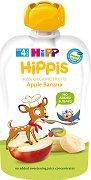 HIPP HiPPiS - Био забавна плодова закуска ябълка и банан - Опаковка от 100 g за бебета над 4 месеца -