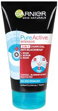 Garnier Pure Active Intensive 3 in 1 - Почистващ гел, ексфолиант и маска за лице против черни точки - четка