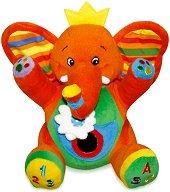 Плюшено слонче - Бебешка играчка с вибрация и огледалце -