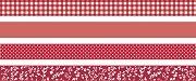 Декоративно тиксо с червени мотиви - Комплект от 4 броя
