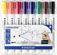 Маркери за бяла дъска с объл връх - Lumocolor 351 - Комплект от 8 цвята