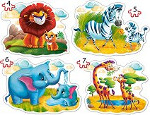 Животните от Африка - 4 пъзела в нестандартна форма с едри елементи -