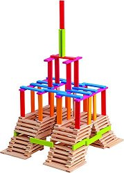 Детски дървен конструктор - Ema - С плоски блокчета - играчка