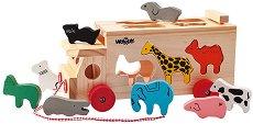Камионче с животни - Детска дървена играчка за сортиране и дърпане - количка