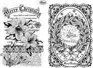 Силиконови печати - Коледна роза и пейзаж - Размер 14 х 18 cm - продукт