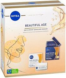 Подаръчен комплект - Nivea Beautiful Age - Дневен и нощен крем за лице против бръчки - крем