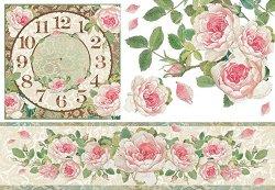 Декупажна хартия - Часовник и рози - Размери 50 x 35 cm
