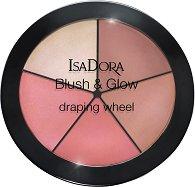 IsaDora Blush & Glow Draping Wheel - Драпинг палитра за контуриране на лице с 4 ружа и хайлайтър -