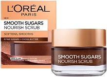 L'Oreal Smooth Sugars Nourish Scrub - Почистващ захарен скраб за лице за суха кожа - продукт