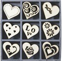 Дървени фигурки - Сърца - Комплект от 45 броя в кутия