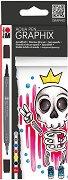 """Акварелни маркери - King of Bubblegum - Комплект от 6 цвята от серията """"Graphix"""""""