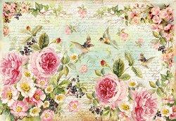 Декупажна хартия - Английски рози - Размери 50 x 35 cm