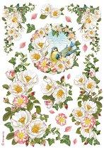 Декупажна хартия - Цветя и птица - Формат А4