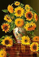 Слънчогледи във ваза с паун - Кристофър Пиърс (Chrispopher Pierse) - пъзел