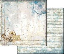 Хартия за скрапбукинг - Звезда, сърце и надписи - Размери 30.5 х 30.5 cm